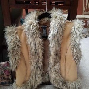 bebe brown faux fur and suede vest